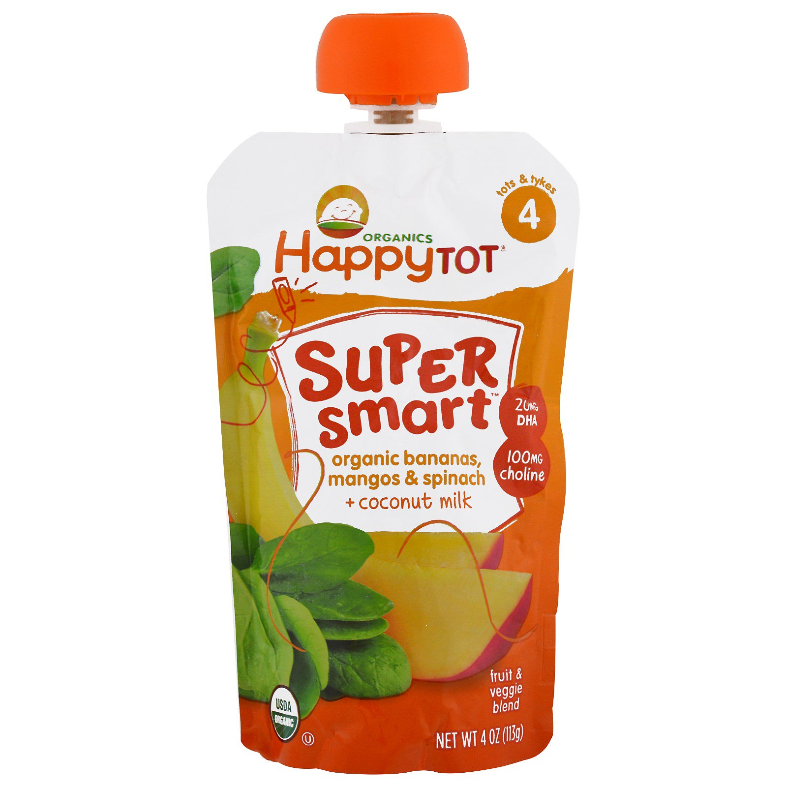 Nurture Inc. (Happy Baby), Happy Tot, Stage 4, Super Smart, Fruit and Veggie Blend, Organic Bananas, Mangos & Spinach, Coconut Milk, 4 oz (pack of 1)