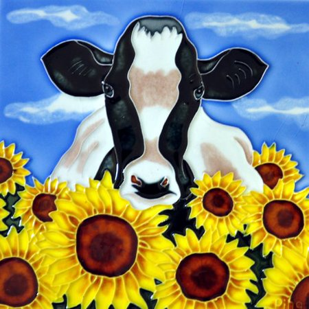 Continental Art Center Cow with Sunflowers Tile Wall Decor