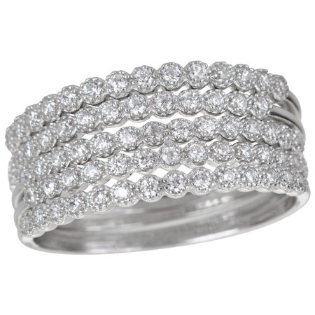 Sterling Silver Bezel Set 5 Cubic Zirconia Ring (Bezel Set Cubic Zirconia Ring)