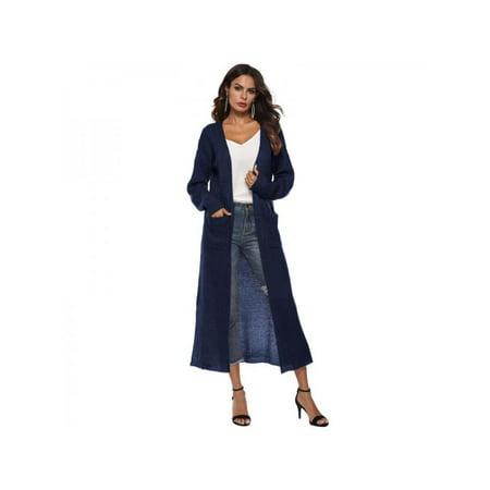 VICOODA Womens Long Open Front Drape Lightweight Maxi Loose Asymmetrical Hem Long Sleeve Split Cardigan Sweater Outerwear