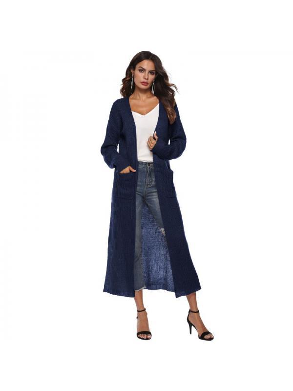 VICOODA Womens Long Open Front Drape Lightweight Maxi Loose Asymmetrical Hem Long Sleeve Split Cardigan Sweater Outerwear Pocket