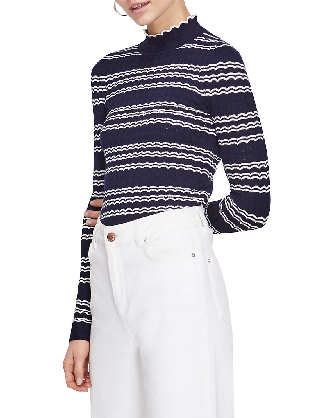 Stripe Pointelle Scallop Ribbed Knitted Top