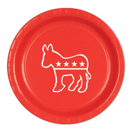 Pack of 96 Disposable Red Democratic Donkey Dinner Plates 9