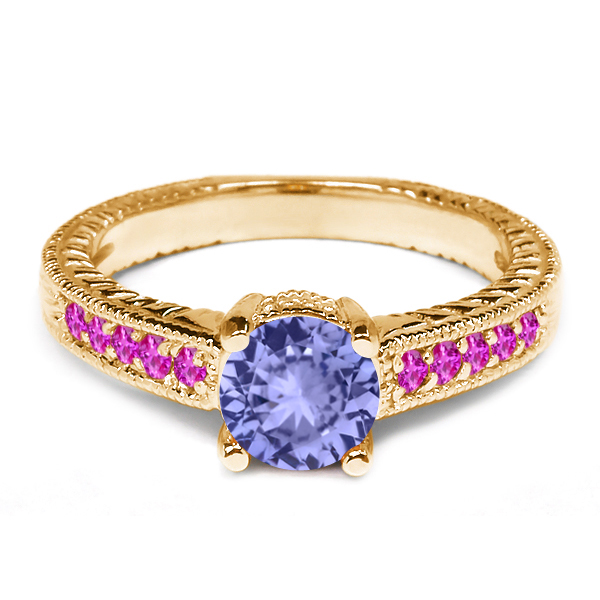1.08 Ct Round Blue Tanzanite Pink Sapphire 18K Yellow Gold Engagement Ring by