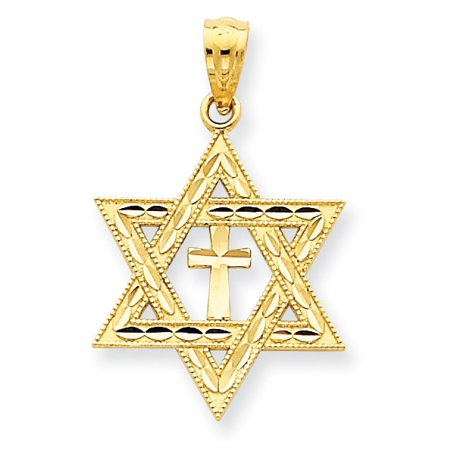14k Yellow Gold Star of David with Cross Pendant Charm 14k Yellow Gold Star Charm