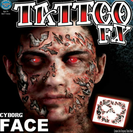 Skull Face Makeup Halloween Men (Tinsley Transfers Cyborg Halloween Costume Makeup Face)