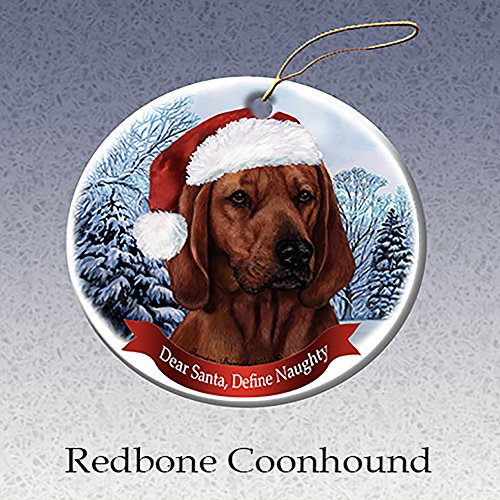 Holiday Pet Gifts Redbone Coonhound Santa Hat Dog Porcelain Christmas Tree Ornament