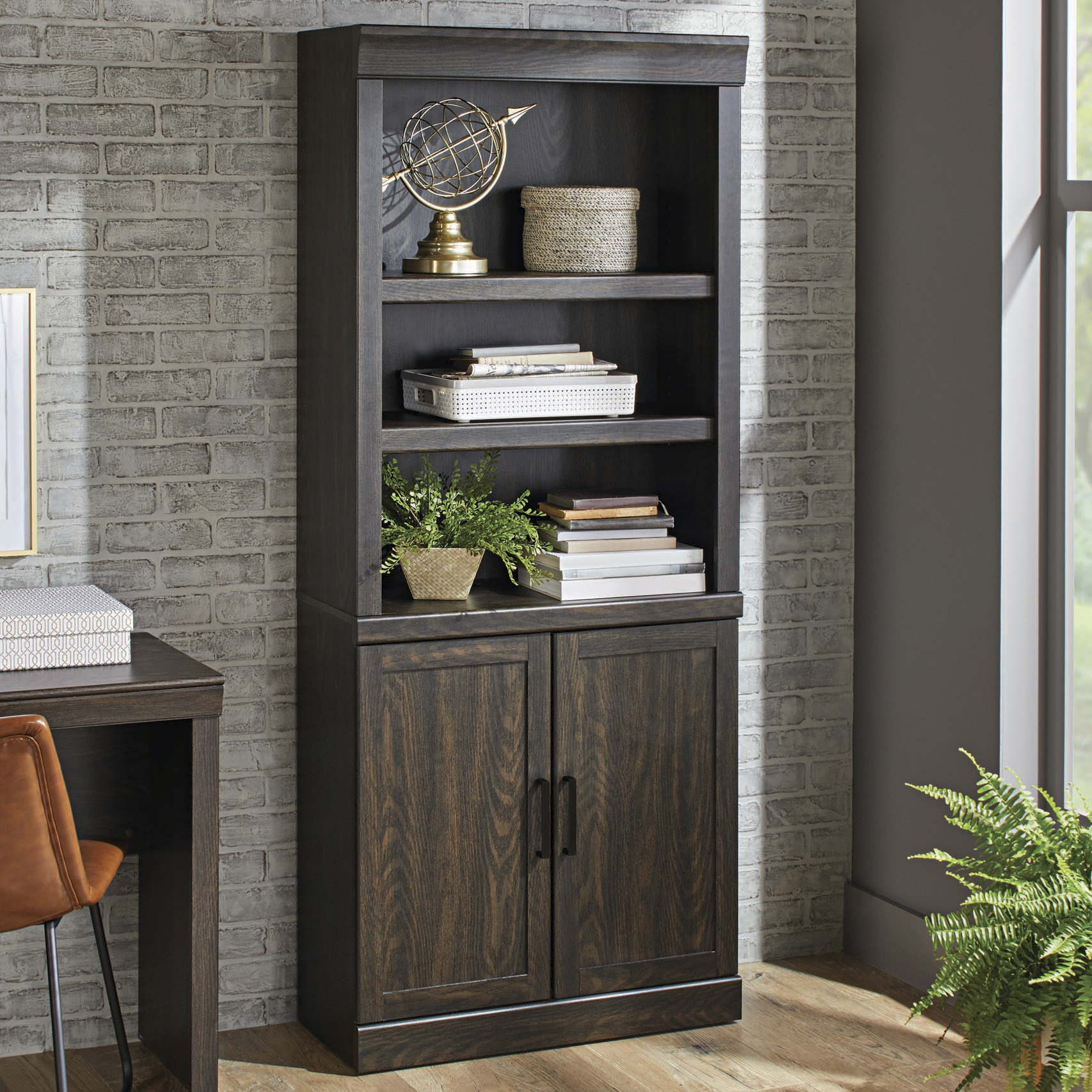 Better Homes & Gardens Glendale 5 Shelf Bookcase with Doors, Dark Oak Finish