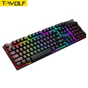 T-WOLF Wired Mechanical Gaming Keyboard T20 Spill-Resistant Design Rainbow Backlit Dedicated Media Keys 104 Keys Keyboard for Windows & PC Gamers Compatible with Win 2000/Vista/7/8/10