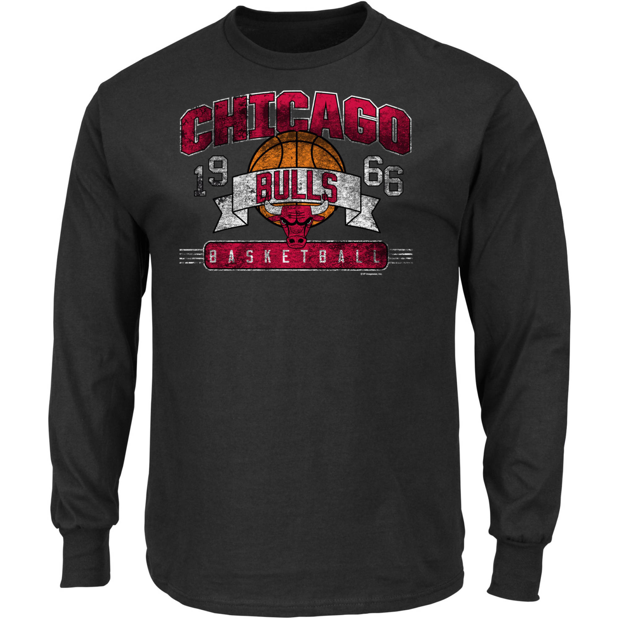 NBA Chicago Bulls Men's Long Sleeve Crew Neck Basic Tee