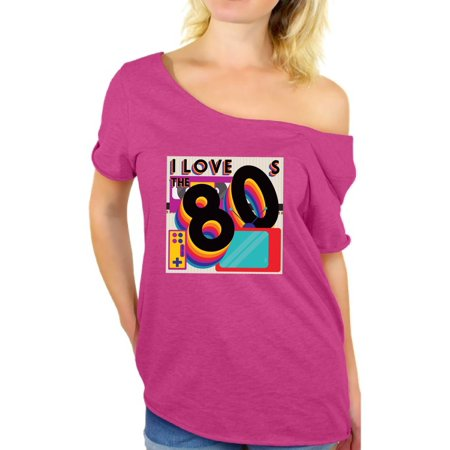 Awkward Styles 80s Shirt Off Shoulder 80s Clothes for Women I Love the 80s Shirt 80s Tops 80s Party Girl Shirt 80's Baggy Shirt 80s Rock T Shirt 80s Theme - 80s Purple