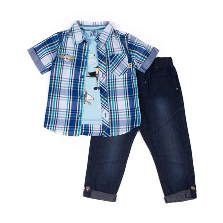 Short Sleeve Plaid Poplin Button Up Shirt, Short Sleeve Graphic T-shirt & Knit Denim Joggers, 3pc Outfit Set (Baby Boys & Toddler Boys) (Turtle Dressing Up Outfit)