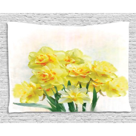 Daffodil Decor Tapestry, Digital Watercolors Paint of Bouquet Called Jonquils in England Lent Lily, Wall Hanging for Bedroom Living Room Dorm Decor, 60W X 40L Inches, Yellow Green, by Ambesonne