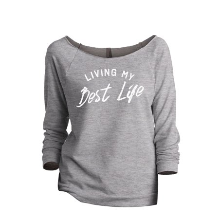 Living My Best Life Women's Fashion Slouchy 3/4 Sleeves Raglan Sweatshirt Sport Grey