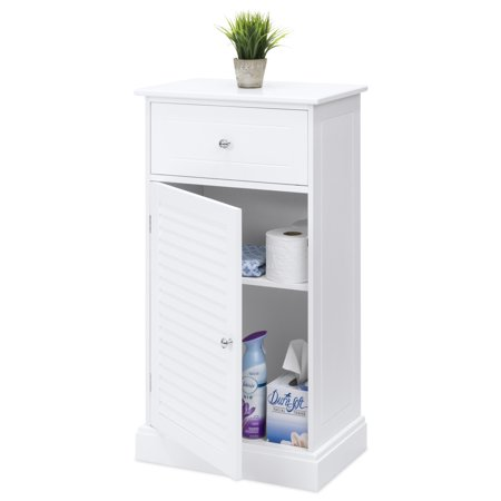 Best Choice Products Wooden Bathroom Floor Cabinet with 2 Shelves and Drawer Storage Compartment, White ()