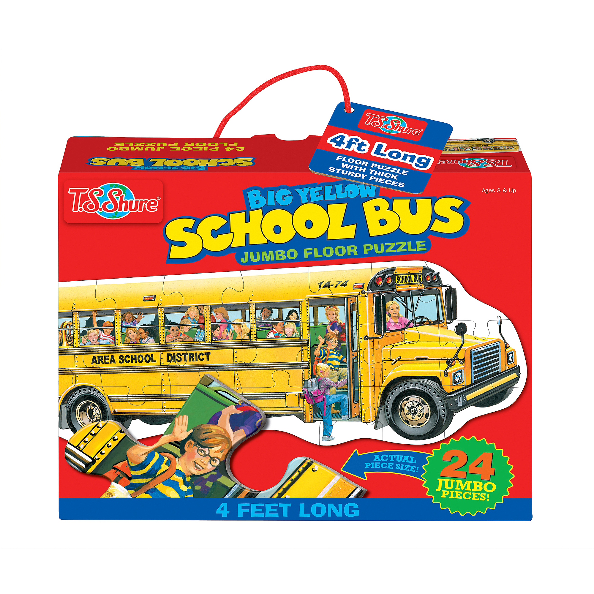 T.S. Shure Big Yellow School Bus Shaped Jumbo Floor Puzzle by TS Shure