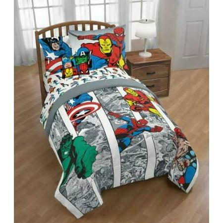 Marvel Comics Avengers Boys Twin Comforter Sheets Bonus Sham 6 Piece Bed In A Bag
