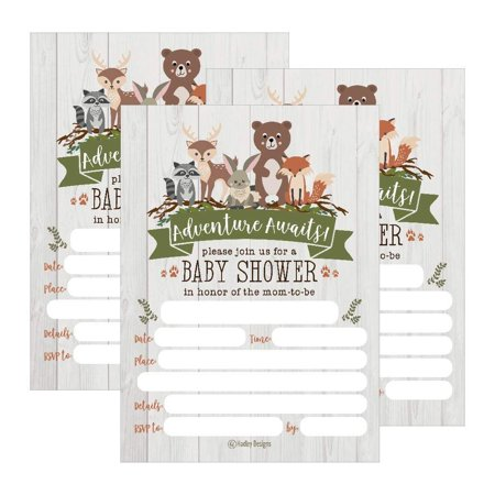25 Cute Rustic Woodland Forest Animals Baby Shower Invitations, Printed Fill In The Blank Invites Girls Boy Gender Neutral Grey Unique Coed Nature Deer Bear Fox Themed Party Card Stock - Hollywood Themed Invites