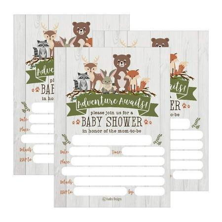 25 Cute Rustic Woodland Forest Animals Baby Shower Invitations, Printed Fill In The Blank Invites Girls Boy Gender Neutral Grey Unique Coed Nature Deer Bear Fox Themed Party Card Stock Paper Adventure - Sprinkle Baby Shower Invitations