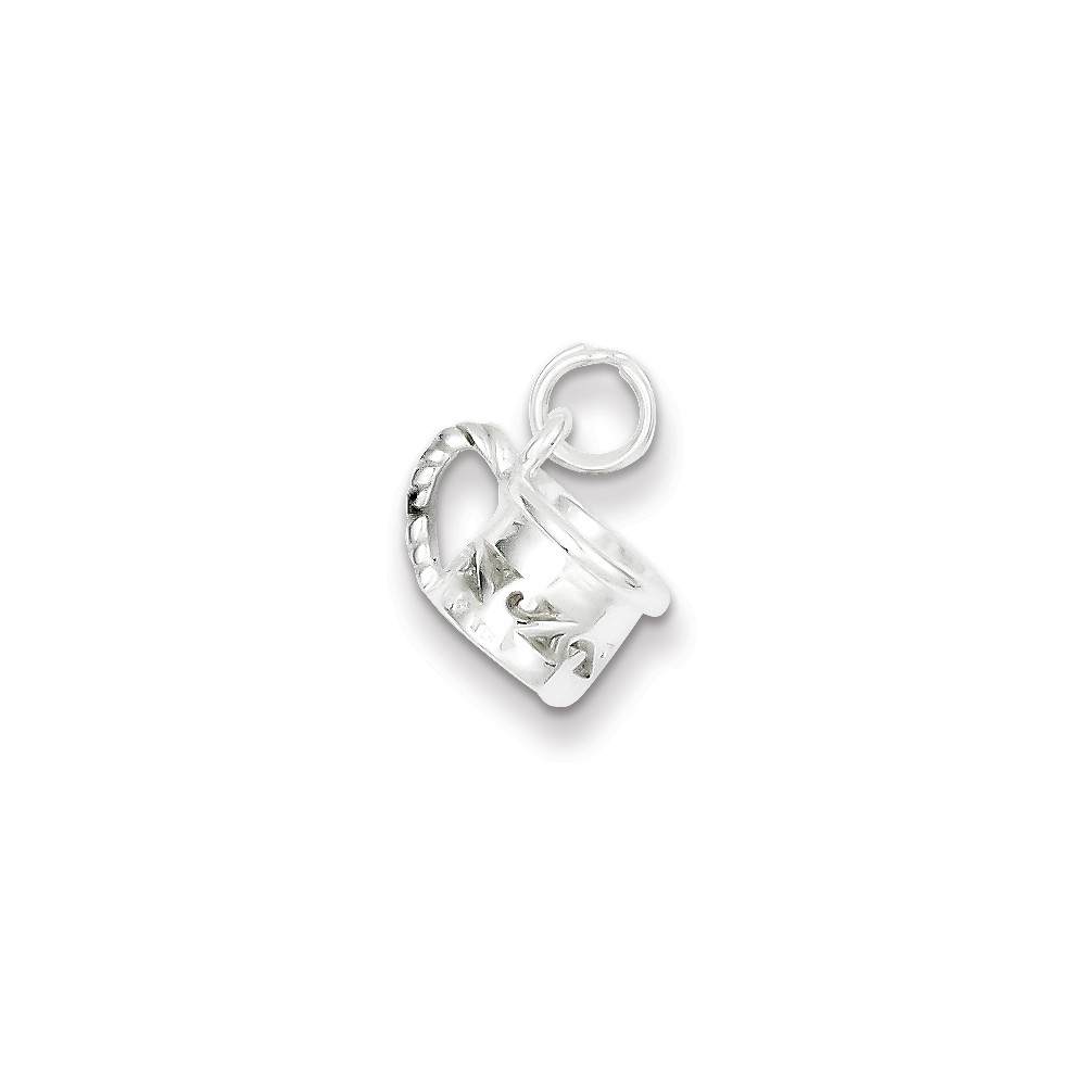 Sterling Silver Polished Mug Charm (0.6in long x 0.4in wide)