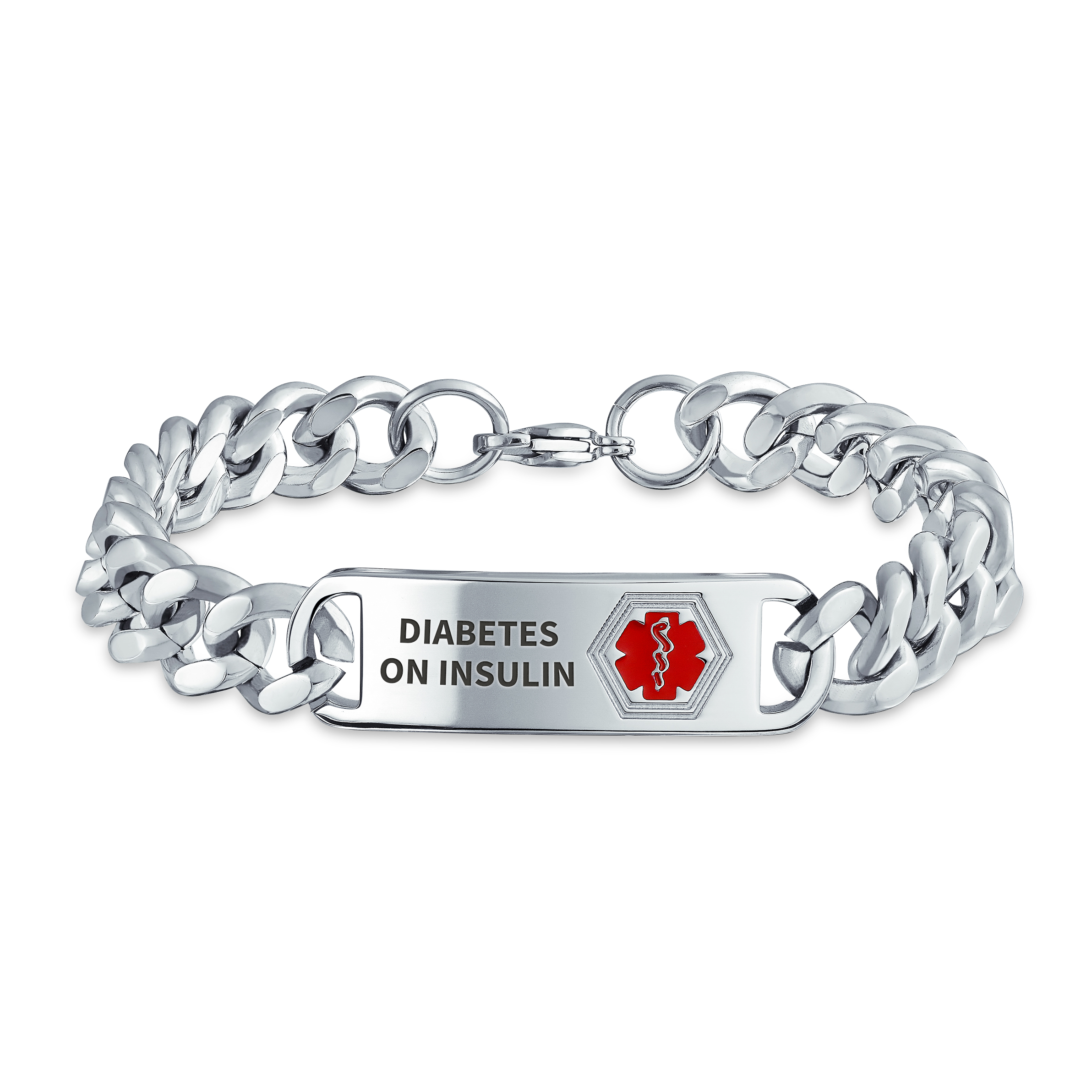 diabetic jewelry sterling silver medical Custom medical alert toggle bracelet medical ID bracelet personalized medical identification