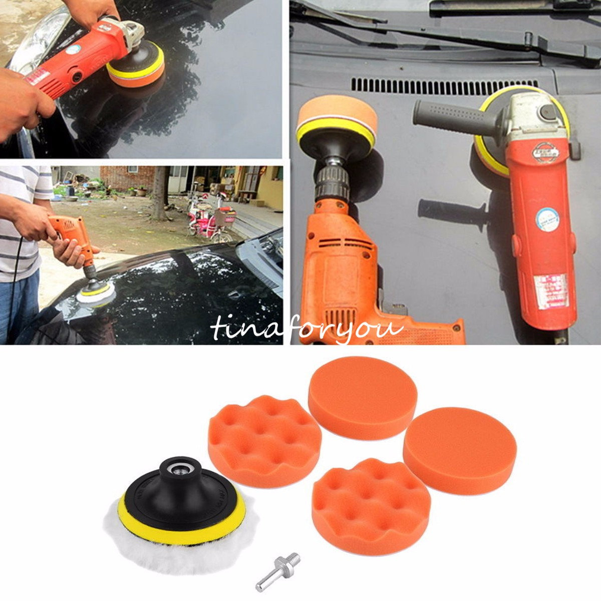 Meigar Car Polisher Buffer Pad Car Sponge and Woolen Polishing Waxing Buffing Pad Kit Set with M10 Drill Adapter