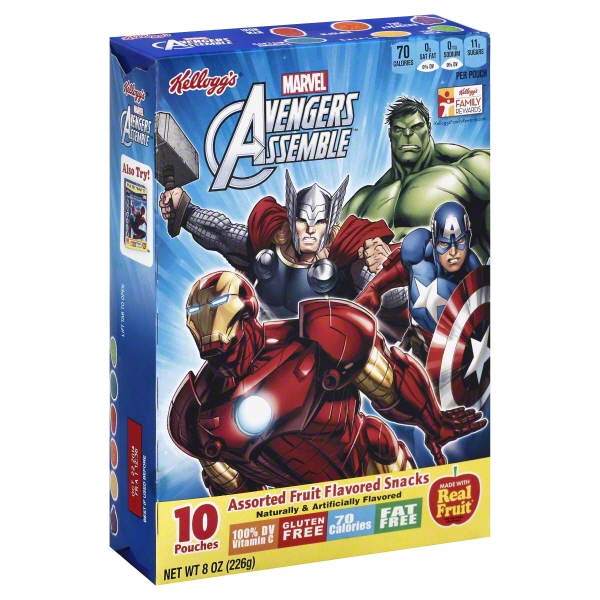 Kellogg's Marvel Civil War Assorted Fruit Flavored Snacks Pouches, 8 oz, 10 count