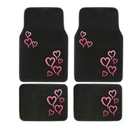 A Set of 4 Universal Fit Front and Rear Logo Plush Carpet Floor Mats - Pink and Red Hearts