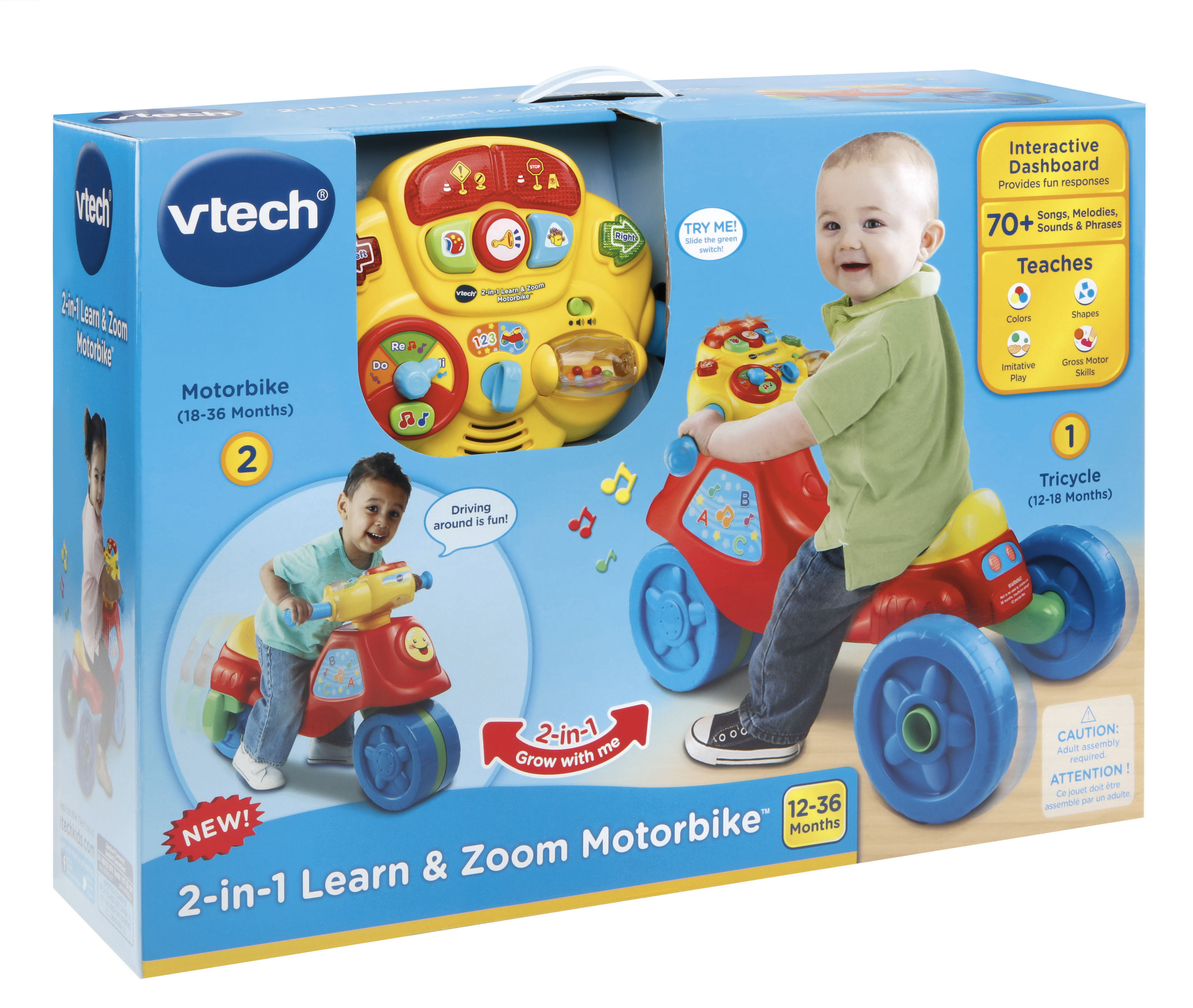 VTech 2 In 1 Learn And Zoom Motorbike Riding Toy For 1 Year Old Kid Tricycle Toy