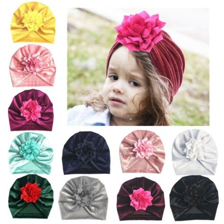 Fashion baby boy girl gold velvet lotus leaf soft and comfortable solid color wrap head cap