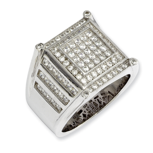 sterling silver and cz brilliant embers mens ring ring