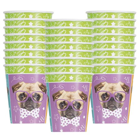 Pug Puppy Birthday Party 9oz. Cups (24) (Puppy Themed Party Supplies)