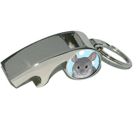 Chinchilla, Cute Pet, Plated Metal Whistle Bottle Opener Keychain Key Ring