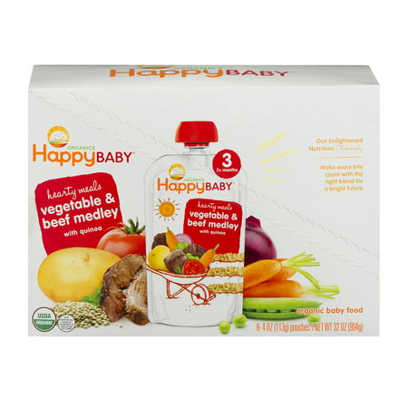 Happy Baby Organics Hearty Meals Vegetable & Beef Medley With Quinoa 3 - 8 CT4.0 OZ