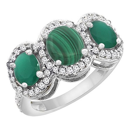 14K White Gold Natural Malachite & Cabochon Emerald 3-Stone Ring Oval Diamond Accent, size 8.5