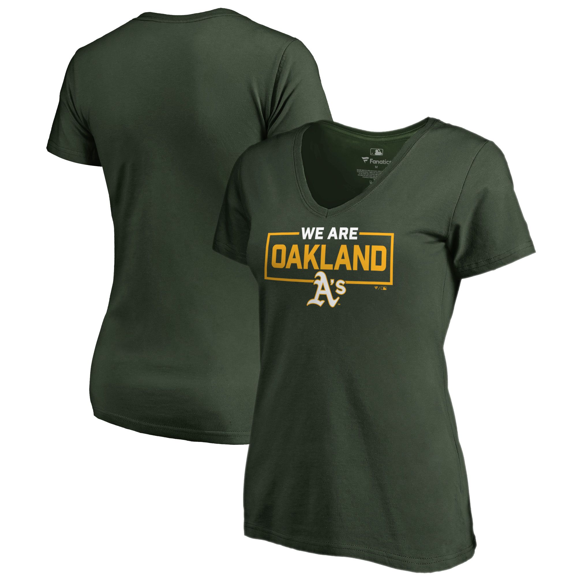 Oakland Athletics Fanatics Branded Women's We Are Icon V-Neck T-Shirt - Green