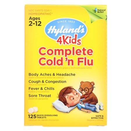 Image of Hylands Homeopathic Cold N Flu - 4 Kids - Complete - 125 Quick-dissolving Tablets