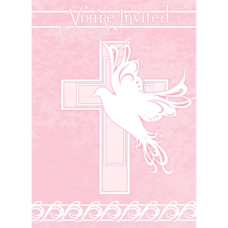 Pink Dove Cross Religious Invitations, 8ct