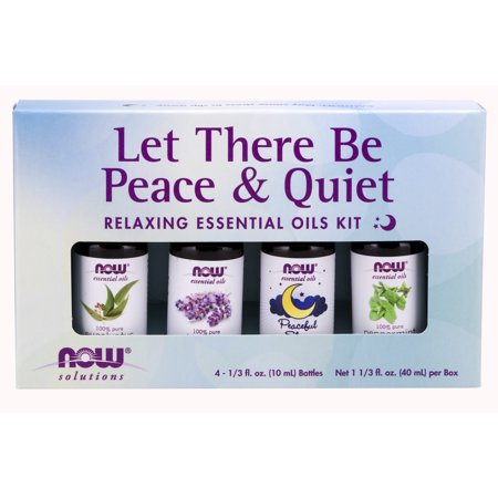 NOW Essential Oils, Let There Be Peace & Quiet Aromatherapy Kit, 4x 10ml Including Lavender Oil, Peppermint Oil, Eucalyptus Oil and Peaceful Sleep Oil (Best Way To Apply Essential Oils)