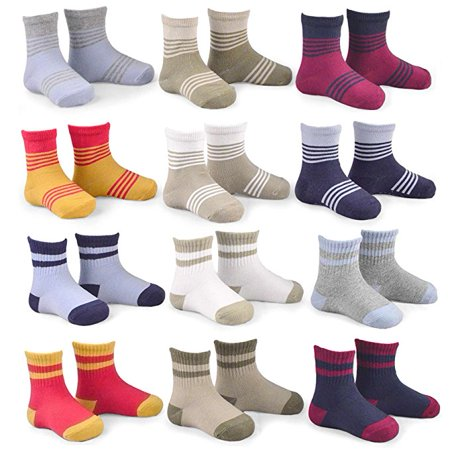 Teehee Kids Boys Cotton Sports Crew Socks Stripes Color Block & Ribed 12 Pairs Pack, 6-12 Months