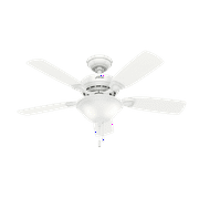 """Hunter 44"""" Caraway New Bronze Ceiling Fan with Light Kit and Pull Chain"""
