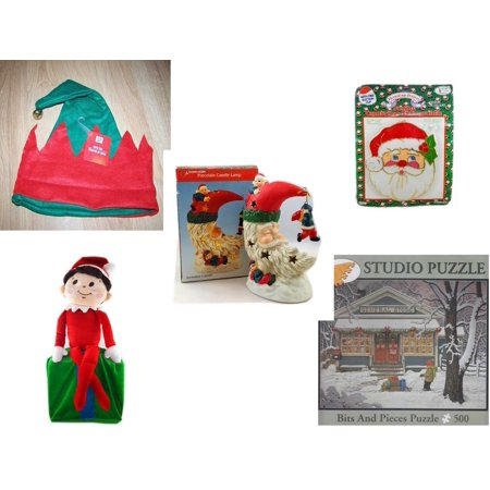 Christmas Fun Gift Bundle [5 Piece] -  Elf Hat w/ Jingle Bell - Jumbo  Suncatcher Santa - A Treasury of Gifts Santa Moon Porcelain Candle Lamp - Elf On Shelf Large  LARGE 24