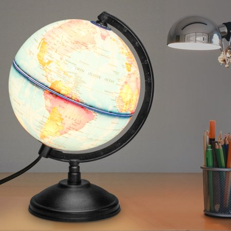14cm LED World Globe Map With Stand Home Office Desktop Decoration Night Light Lamp Political Globe Geography Educational Toy Kids - World Globe Decorations