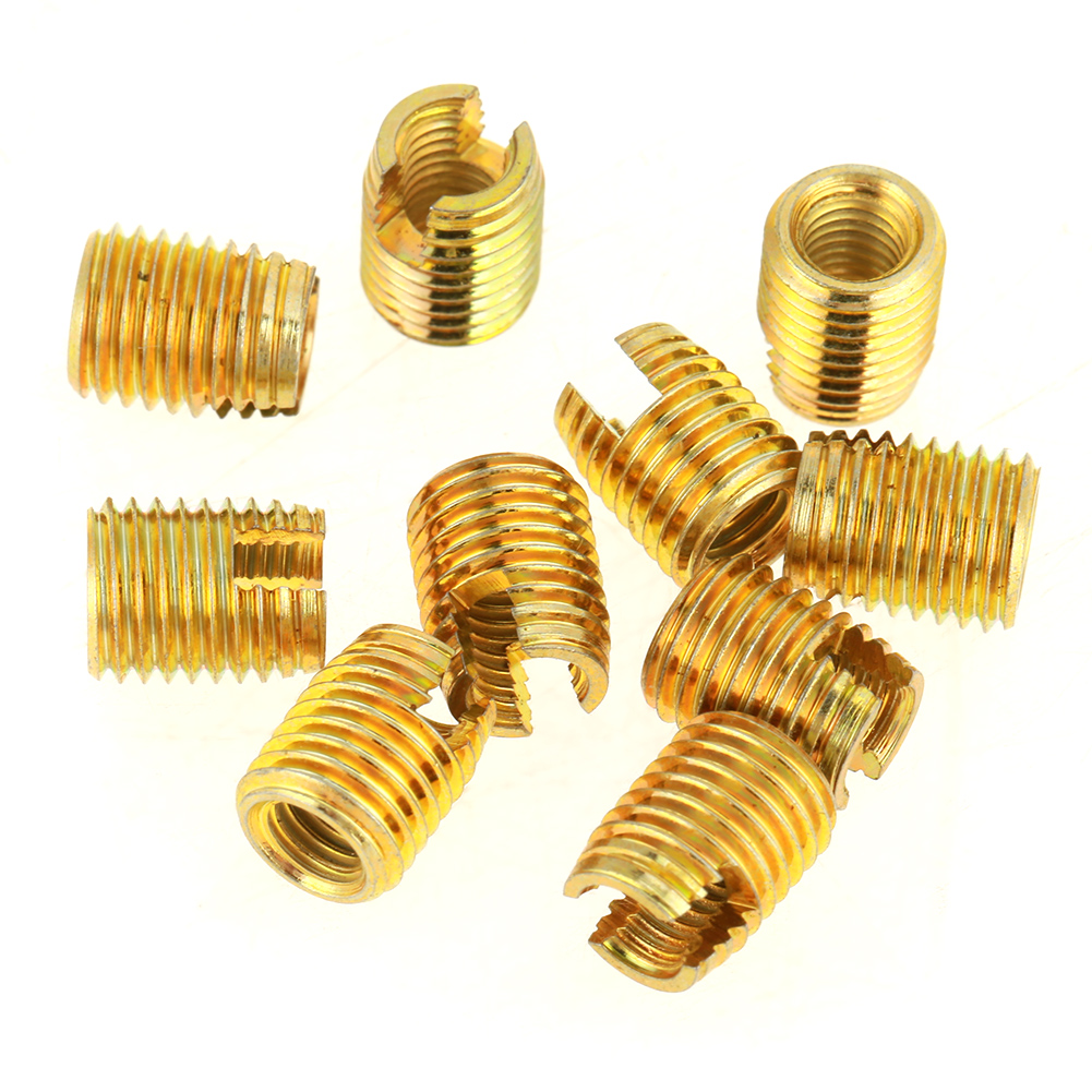 50Pcs Brass Tone Self Tapping Thread Slotted Inserts Combination Set Metal Tool Kits Repair Thread Tool