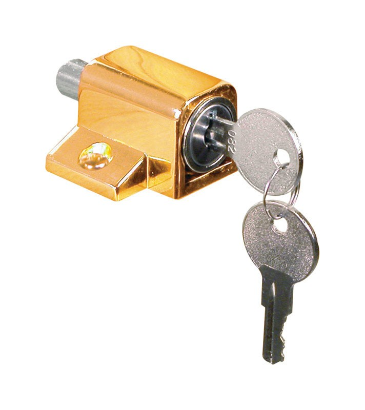 Defender Security U 9863 Heavy Duty Wood Window Keyed Sash Lock, Brass Plated