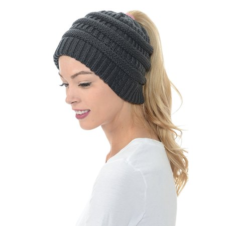 be286b2f763 Women Beanie Hat Tail Knit Hat -Winter Warm Beanie Tail Soft Stretch Cable  Knit Messy High Bun Ponytail Beanie Hats for Women