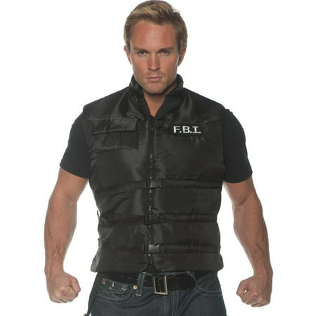 Fbi Mens Adult Black Police Task Force Costume Accessory Vest-So](Fbi Costume)