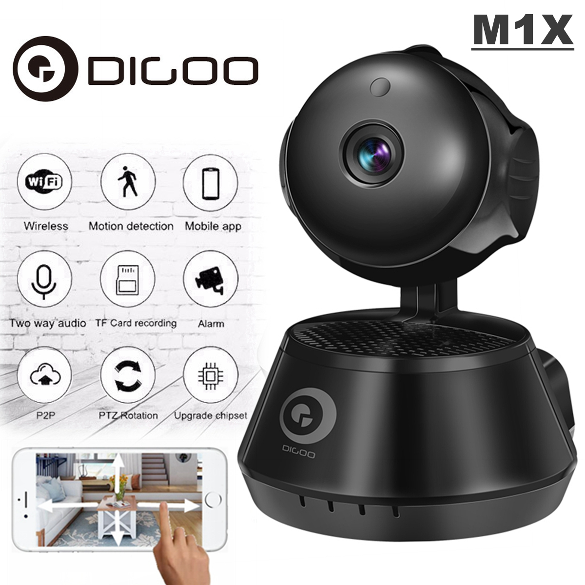 Digoo Smart Wireless WiFi Network IP Camera Baby spycamera Monitor CCTV with Night Vision IR Motion Detection &Two-Way APP Control & NVR Video Recorder for Home Security
