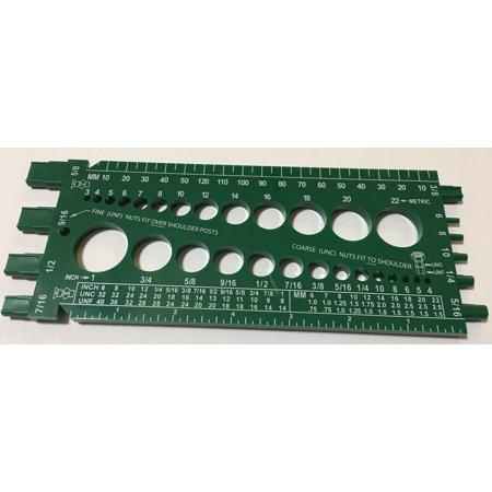 Standard & Metric Bolt & Nut Gauge Green Plastic