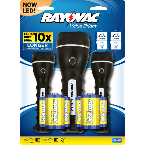 Rayovac LED 2D Rubber Flashlight, 3-Pack